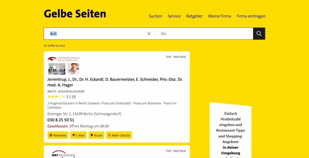 Beispiel: Eintrag bei Gelbe Seiten