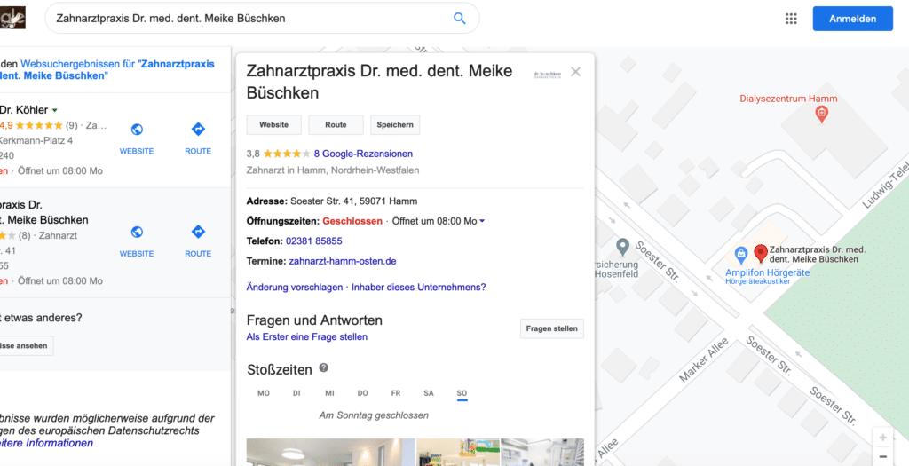 Beispiel: Eintrag bei Google My Business